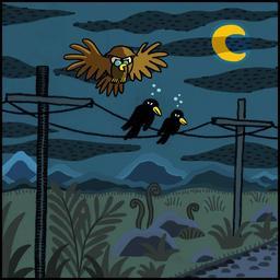 La chouette et le corbeau 03. Source : http://data.abuledu.org/URI/51b9eefa-la-chouette-et-le-corbeau-03