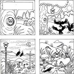 La chouette et le corbeau en NB - première planche. Source : http://data.abuledu.org/URI/560d220c-la-chouette-et-le-corbeau-en-nb-premiere-planche