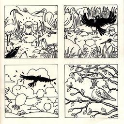 La chouette et le corbeau en NB - seconde planche. Source : http://data.abuledu.org/URI/560d22d2-la-chouette-et-le-corbeau-en-nb-seconde-planche