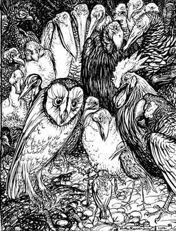 La chouette et les oiseaux. Source : http://data.abuledu.org/URI/517d3ba1-la-chouette-et-les-oiseaux