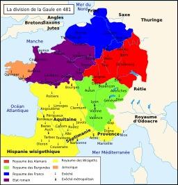 La division de la Gaule en 481. Source : http://data.abuledu.org/URI/50734524-la-division-de-la-gaule-en-481