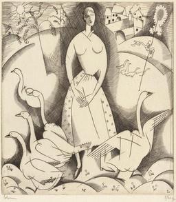La fille aux oies en 1916. Source : http://data.abuledu.org/URI/55584dc1-la-fille-aux-oies-en-1916