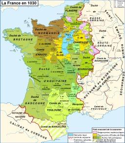 La France et le Domaine royal en 1030. Source : http://data.abuledu.org/URI/52d00d78-la-france-et-le-domaine-royal-en-1030