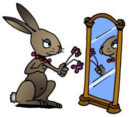 La lapine devant son miroir du terrier d'Abulédu. Source : http://data.abuledu.org/URI/58782718-la-lapine-devant-son-miroir-du-terrier-d-abuledu
