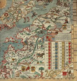 La Lithuanie sur une carte marine de 1539. Source : http://data.abuledu.org/URI/53f4b039-la-lithuanie-sur-une-carte-marine-de-1539