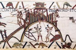 La motte de Dinan sur la tapisserie de Bayeux. Source : http://data.abuledu.org/URI/532e96e4-la-motte-de-dinan-sur-la-tapisserie-de-bayeux