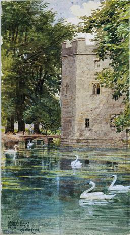 La motte féodale et le palais épiscopal, cathédrale de Wells. Source : http://data.abuledu.org/URI/47f5f069-la-motte-feodale-et-le-palais-episcopal-cathedrale-de-wells