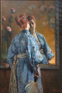 La Parisienne japonaise à l'éventail en 1872. Source : http://data.abuledu.org/URI/5706b2fc-la-parisienne-japonaise-a-l-eventail-en-1872