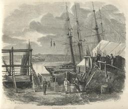 La pêche de la morue à Terre-Neuve en 1858. Source : http://data.abuledu.org/URI/52e40710-la-peche-de-la-morue-a-terre-neuve-en-1858