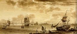 La rade de Lorient vue de la citadelle de Port-Louis. Source : http://data.abuledu.org/URI/51cdd8b8-la-rade-de-lorient-vue-de-la-citadelle-de-port-louis