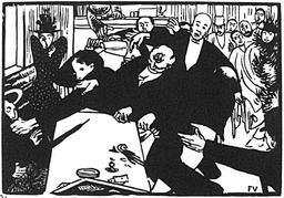 La rixe ou la scène au Café en 1892. Source : http://data.abuledu.org/URI/5863770a-la-rixe-ou-la-scene-au-cafe-en-1892