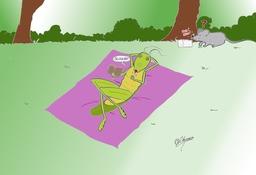 La sauterelle et la souris. Source : http://data.abuledu.org/URI/537bc50e-la-sauterelle-et-la-souris