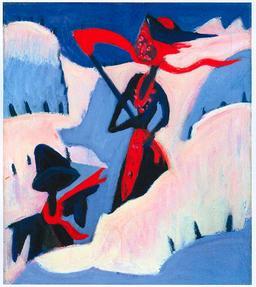 La sorcière et l'épouvantail dans la neige. Source : http://data.abuledu.org/URI/520a5e29-la-sorciere-et-l-epouvantail-dans-la-neige