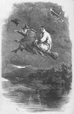 La sorcière sur son balai. Source : http://data.abuledu.org/URI/528bfb8a-la-sorciere-sur-son-balai