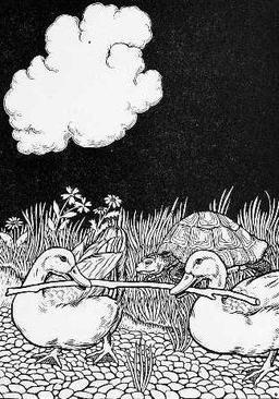La tortue et les deux canards. Source : http://data.abuledu.org/URI/519a871c-la-tortue-et-les-deux-canards
