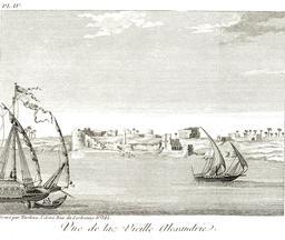 La vieille ville d'Alexandrie en 1799. Source : http://data.abuledu.org/URI/591c855c-la-vieille-ville-d-alexandrie-en-1799
