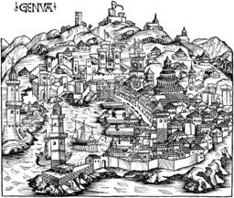 La ville de Gênes en 1490. Source : http://data.abuledu.org/URI/573b7f9b-la-ville-de-genes-en-1490