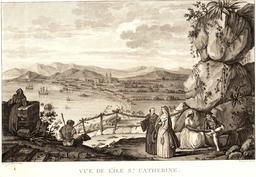 Lapérouse à l'île Sainte-Catherine en 1787. Source : http://data.abuledu.org/URI/59908122-laperouse-a-l-ile-sainte-catherine-en-1787