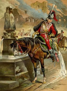 Le baron de Munchhausen sur son demi-cheval. Source : http://data.abuledu.org/URI/521de6ab-le-baron-de-munchhausen-sur-son-demi-cheval