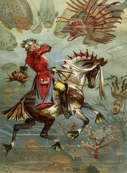 Le baron Munchhausen sous l'eau en 1896. Source : http://data.abuledu.org/URI/567eb698-le-baron-munchhausen-sous-l-eau-en-1896