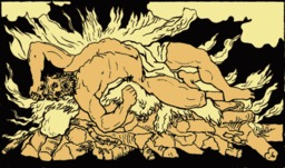 Le bûcher d'Héraclès sur le mont Œta. Source : http://data.abuledu.org/URI/50d8ddee-le-bucher-d-heracles-sur-le-mont-oeta