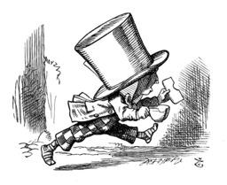 Le chapelier d'Alice prend la fuite. Source : http://data.abuledu.org/URI/50cf02b5-le-chapelier-d-alice-prend-la-fuite