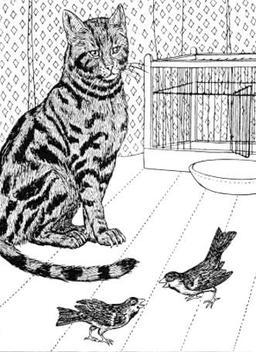 Le Chat et les deux Moineaux. Source : http://data.abuledu.org/URI/519ca892-le-chat-et-les-deux-moineaux