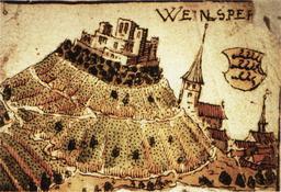 Le château de Weinsberg en 1578. Source : http://data.abuledu.org/URI/53092969-le-chateau-de-weinsberg-en-1578