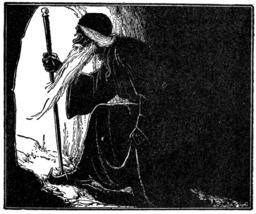 Le Cheikh Abu Al-Ruwaysh sort de sa grotte. Source : http://data.abuledu.org/URI/51db2ec7-le-cheikh-abu-al-ruwaysh-sort-de-sa-grotte
