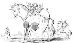Le cheval Bayard de Louvain en 1594. Source : http://data.abuledu.org/URI/54a75c30-le-cheval-bayard-de-louvain-en-1594