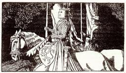 Le chevalier Gauvain en 1903. Source : http://data.abuledu.org/URI/595043fe-le-chevalier-gauvain-en-1903