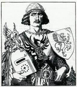 Le chevalier Gavain en 1903. Source : http://data.abuledu.org/URI/5950ac68-le-chevalier-gavain-en-1903