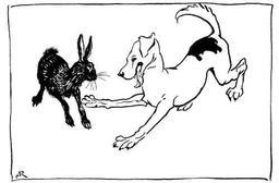 Le chien de chasse et le lièvre. Source : http://data.abuledu.org/URI/517d4ec9-le-chien-de-chasse-et-le-lievre