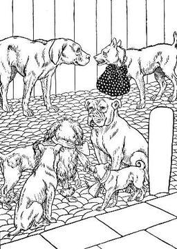 Le Chien qui porte à son cou le dîner de son maître. Source : http://data.abuledu.org/URI/519c68ce-le-chien-qui-porte-a-son-cou-le-dine-de-son-maitre
