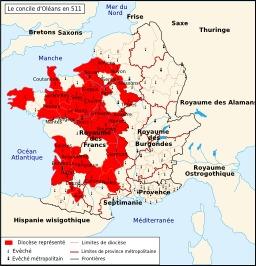 Le concile d'Orléans en 511. Source : http://data.abuledu.org/URI/50734901-le-concile-d-orleans-en-511