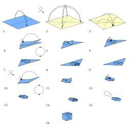 Le cube en origami. Source : http://data.abuledu.org/URI/52f15d44-le-cube-en-origami