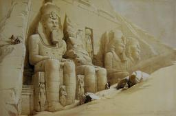Le Grand Temple d'Abou Simbel en cours de fouille. Source : http://data.abuledu.org/URI/5472f356-le-grand-temple-d-abou-simbel-en-cours-de-fouille