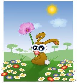 Le lapin à lunettes et les fleurs. Source : http://data.abuledu.org/URI/5480b480-le-lapin-a-lunettes-et-les-fleurs