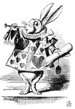 Le lapin d'Alice en héraut. Source : http://data.abuledu.org/URI/50cefc60-le-lapin-d-alice-en-heraut