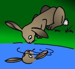 Le lapin et son double du terrier d'Abulédu. Source : http://data.abuledu.org/URI/587826bd-le-lapin-et-son-double-du-terrier-d-abuledu