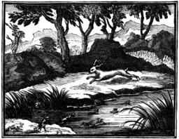 Le lièvre et les grenouilles. Source : http://data.abuledu.org/URI/510c17cf-le-lievre-et-les-grenouilles