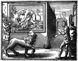 Le lion abattu par l'homme. Source : http://data.abuledu.org/URI/510c1944-le-lion-abattu-par-l-homme