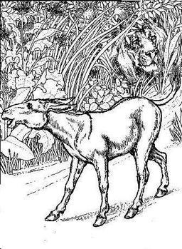 Le Lion et l'Ane chassant. Source : http://data.abuledu.org/URI/5199caa8-le-lion-et-l-ane-chassant