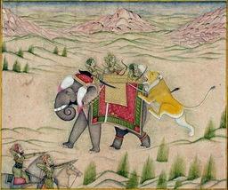 Le lion et l'éléphant en 1810. Source : http://data.abuledu.org/URI/53f47da4-le-lion-et-l-elephant-en-1810