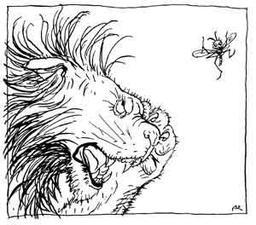 Le lion et le moucheron. Source : http://data.abuledu.org/URI/517d6b5b-le-lion-et-le-moucheron