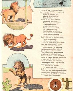 Le lion et le moucheron. Source : http://data.abuledu.org/URI/5197f454-le-lion-et-le-moucheron