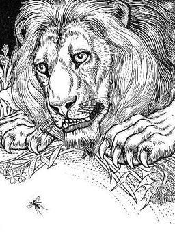 Le Lion et le Moucheron. Source : http://data.abuledu.org/URI/519bf53b-le-lion-et-le-moucheron