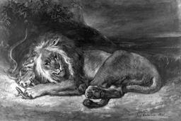 Le lion et le serpent. Source : http://data.abuledu.org/URI/514e0e7e-le-lion-et-le-serpent