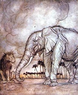 Le lion, Jupiter et l'éléphant. Source : http://data.abuledu.org/URI/517d30e1-le-lion-jupiter-et-l-elephant