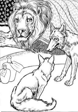 Le Lion, le Loup, et le Renard. Source : http://data.abuledu.org/URI/519cea67-le-lion-le-loup-et-le-renard